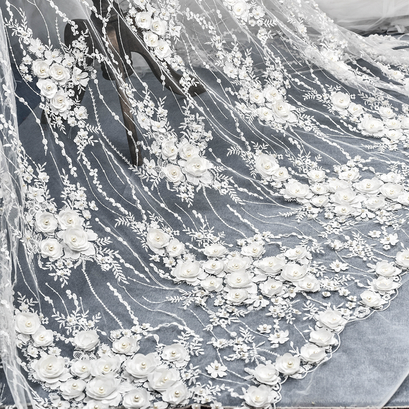 Spuer Beautiful !!! European Luxury 3D Chiffon Flower Beaded Wedding Dress Lace Fabric Width 130cm 1meter-in Lace from Home & Garden    1