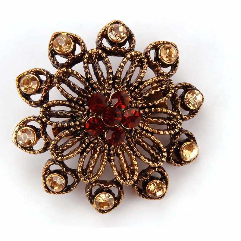 Mieg Vintage Warna Emas Berlapis Bunga Bros untuk Wanita Pernikahan Rhinestone Buket Bijoux Pin Pakaian Perhiasan Aksesoris