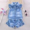 Ropa de la muchacha conjunto hijo de las flores ropa 2016 de verano para la ropa de marca niños Denim top y shorts ropa para las muchachas del verano