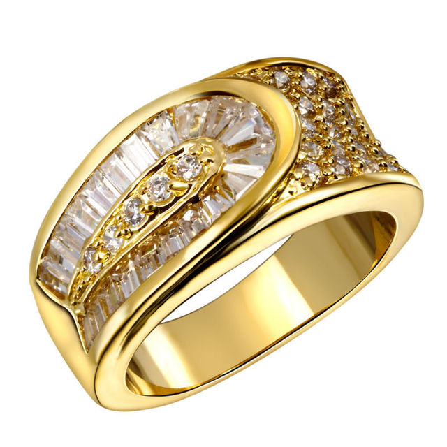 DC1989 Women Binding CZ Wedding Party Rings Gold & Rhodium Plated Lead Free Rectangle & Round Shape Synthetic Cubic Zirconia
