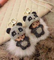 Monchichi Keychains Pure Handmade Drill With Rabbit Hair Fur Ball Key Chains Keyring Handbag Cahrm