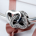 925 Sterling Silver Charms fit Bracelets Entwined Love Clear Zircon Bijoux Female  for Women Lovers Gift Retro Decorations