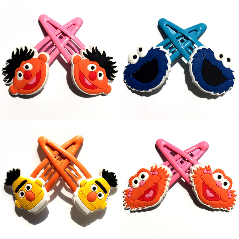 3-4pairs Sesame Street Hair Accessories Cartoon Hairpins For Girls Elmo Cookie Monster Hair Clips Headwear Barrettes Kids Gift