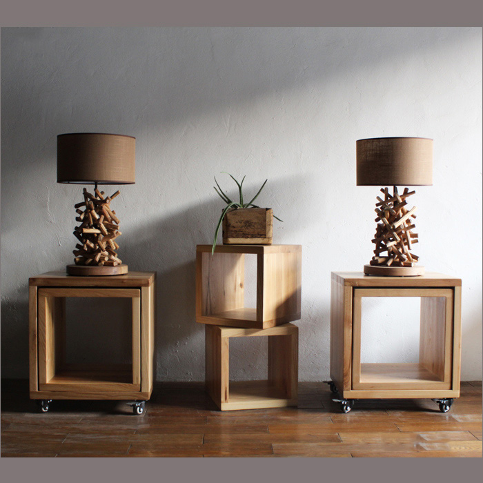 Living Room With Wooden End Table And Tiffany Lamp: Retro Pile Up Branches Wood Table Lamp Living Room Decor