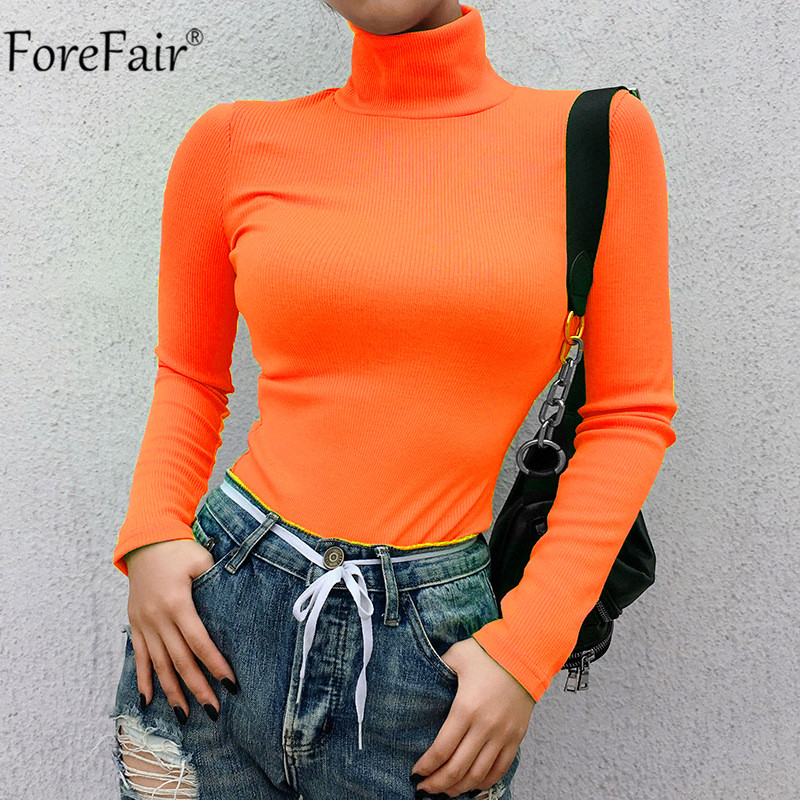 Forefair Ribbed Autumn Winter Neon   T     Shirt   Women Long Sleeve Turtleneck Tshirt Fashion Knitted Tops Tee Femme