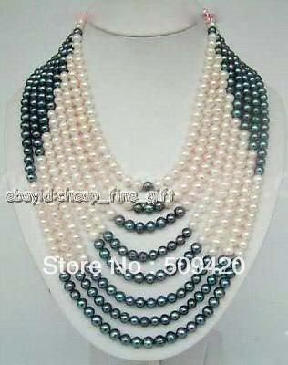 Free Shipping >>6-7MM Black white FW Pearl 8 Rows Necklace цена и фото