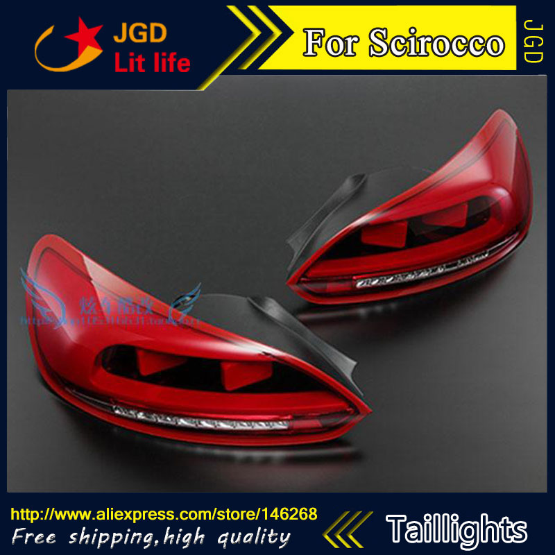 Car Styling tail lights for VW Scirocco LED Tail Lamp rear trunk lamp cover drl+signal+brake+reverse car styling tail lights for hyundai santa fe 2007 2013 taillights led tail lamp rear trunk lamp cover drl signal brake reverse