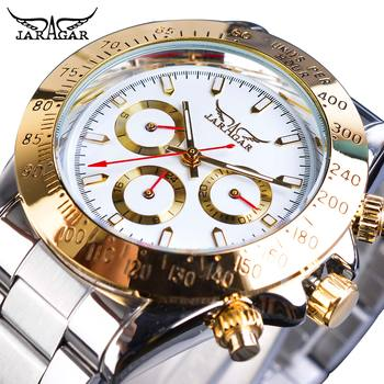 Jaragar 2019 Montre Homme Mens Watches Automatic Fashion Golden Stainless Steel Date Sports Mechanical Wristwatch Clock Relogio ik colouring mens orologio uomo automatic wristwatch skeleton steampunk wrist watch stainless steel band male clock montre homme