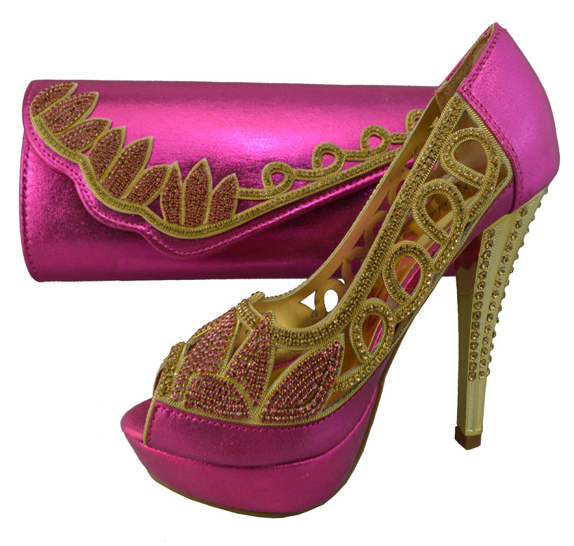 Fuchsia Color Shoes And Bag To Match