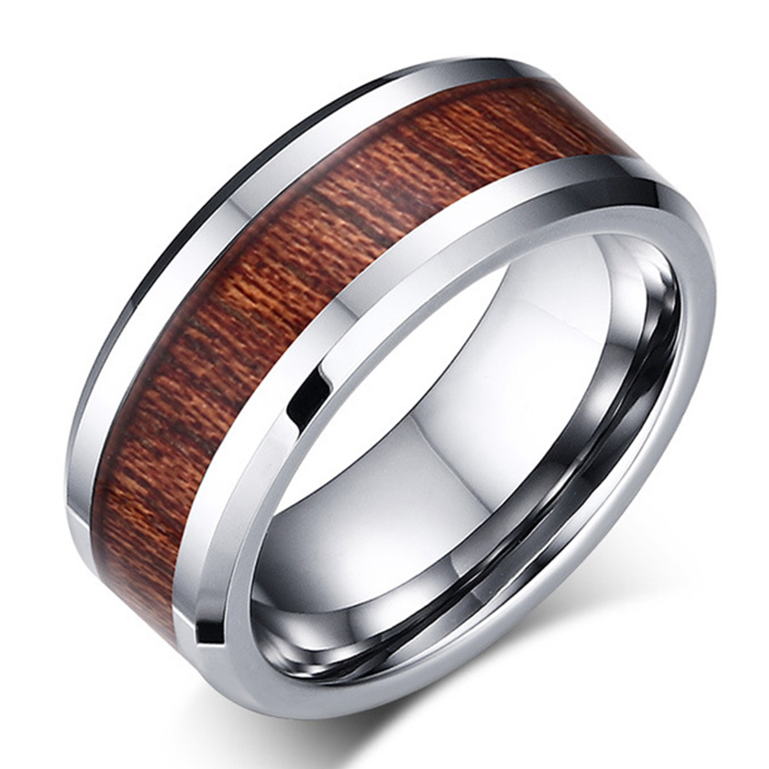 NEW 8mm Silver color Wood grain Inlay Polished Finish Edge Tungsten Ring Engagement Wedding Band Fashion Jewelry Men Women Rings