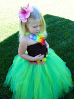 petal green girl children baby tutu party birthday dresses princess dress Photograph T show Walking show Beauty contest cloth