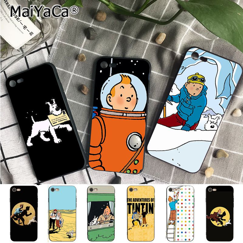 Maiyaca For Iphone Xs Max 7 8 Plus Tintin Ddark Illustration Moon Dog Phone Case For Iphone 6s 6plus 7 7plus 8 8plus X 5 5s Xr An Enriches And Nutrient For The Liver And Kidney Half-wrapped Case