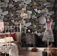 10M 3D Brick Stone with Grass Wall Wallpapers DIY Wall Decal Backdrop Wallpaper papel de parede tapete