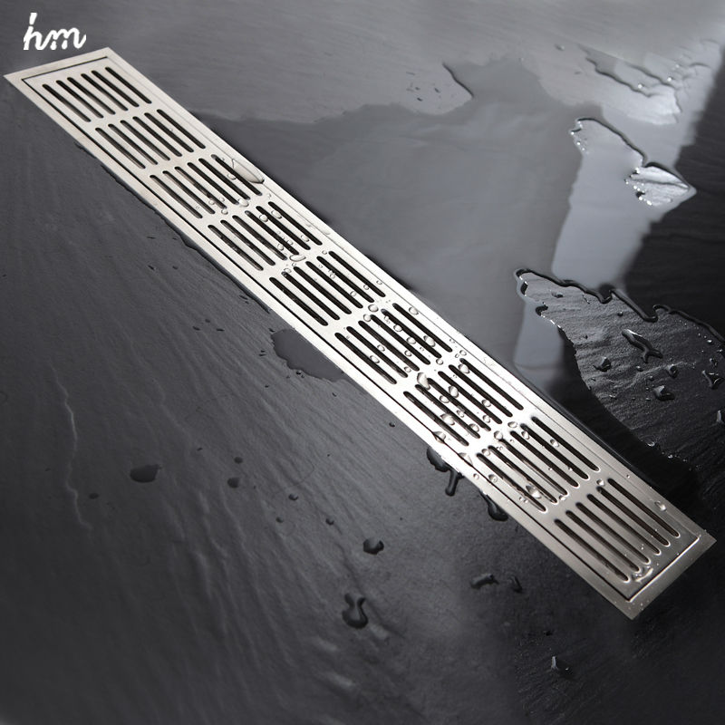 60*10cm Floor Drain ZIPPER Style Stainless Steel 304 Linear Shower Drain Vertical Long Drain Flange Bathroom Floor Drains