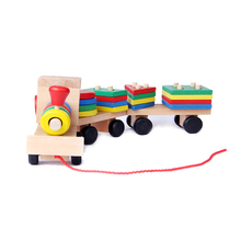 Montessori Toys Educational Wooden Toys for Children Early Learning Geometric Shapes Train Sets Three Tractor Carriage