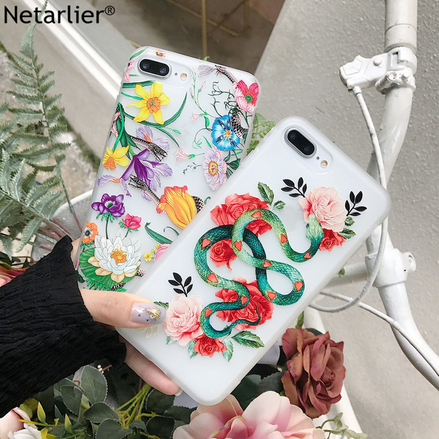 Netarlier Newest Case For iPhone 7Plus 8Plus Beautiful Floral Patterned Green Snake Protective Matte TPU Soft Phone Case Cover