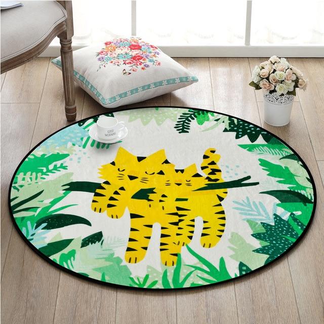 Cartoon Animals Round Room Carpet Non Slip Rugs Pad Cute Tiger Flamingo  Parrot Bear Printed Bedroom Rug Kids Room Floor Mats