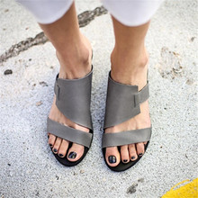 купить New Women Sandals Leather Gladiator Open Toe slip on Flip Flops Sandals Roman Sandal Sandalias summer Beach Slides Casual Shoes по цене 1288.24 рублей