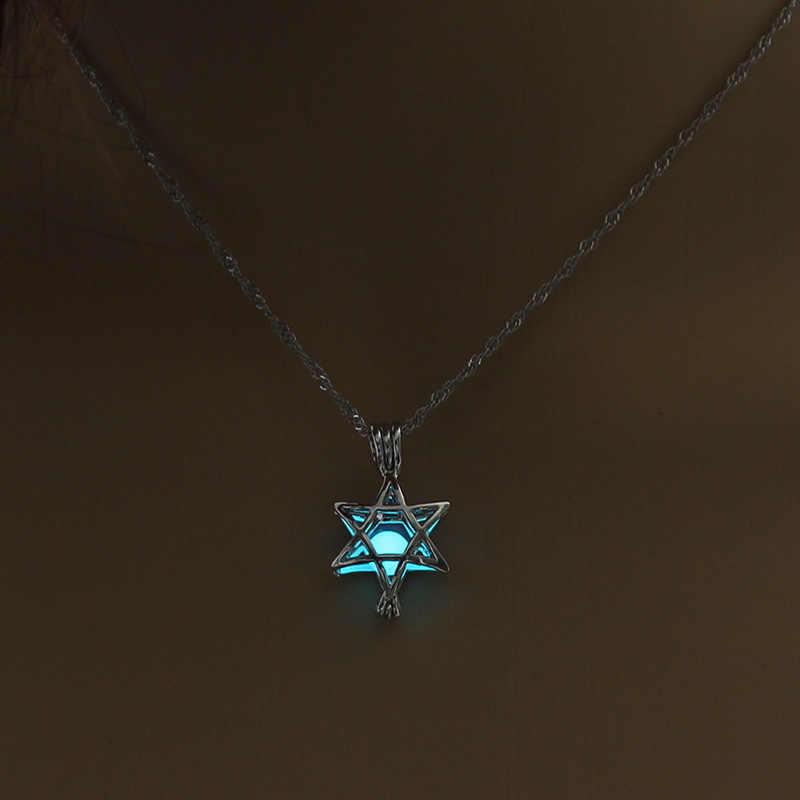 Minimalisticดาวเรืองแสงในที่มืดสร้อยคอ3สีH Ollowส่องสว่างแฉกกรงจี้สำหรับผู้หญิงเครื่องประดับแฟชั่น
