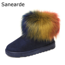 Winter New Women Boots Fashion Ankle Boots for Women Colorful rabbit hair  Women Shoes Winter Boots zapatos mujer  Boots Shoes