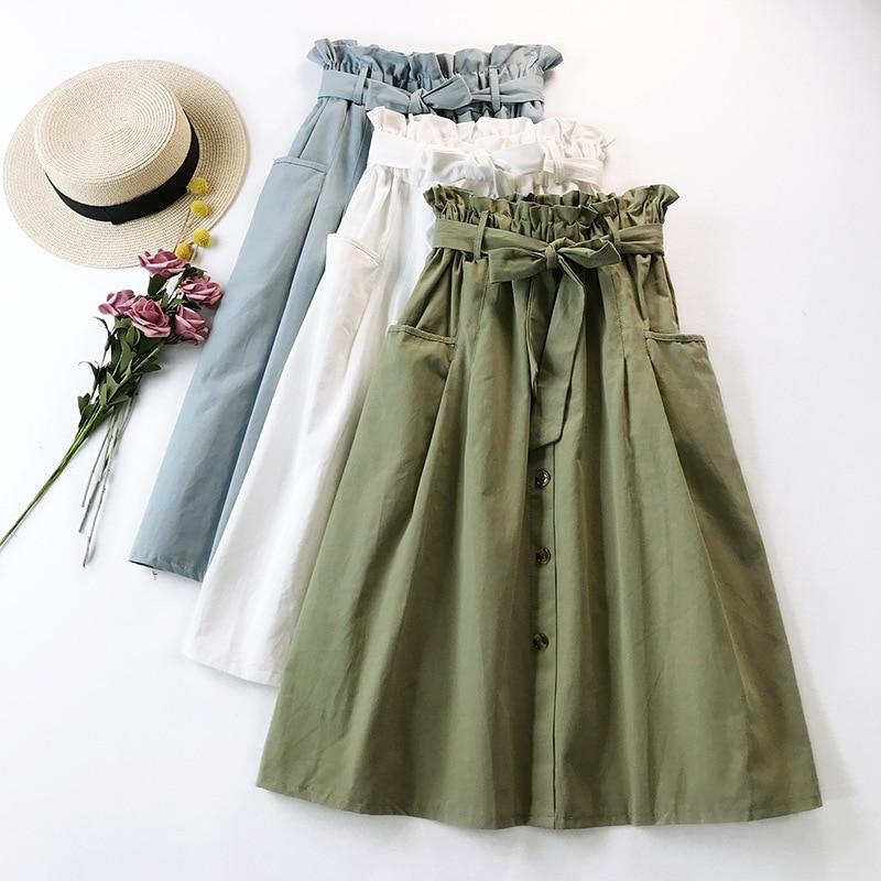 2019 Women Summer Skirt With Belt Design A-Line Pure Color Women Cotton Midi Skirt Boho Vintage Women White Skirt