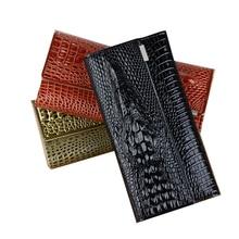 Fashion Alligator Women Patent Leather Wallet Long Trifold Designer Purse Women 3D Animal Printed Female Card Holder Lady