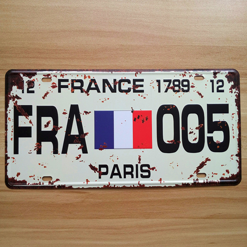 Retro License Number carplates  FRA-005 France paris flag  UA-CP-0083 Vintage metal tin signs plaque Bar art craft 30*15 CM