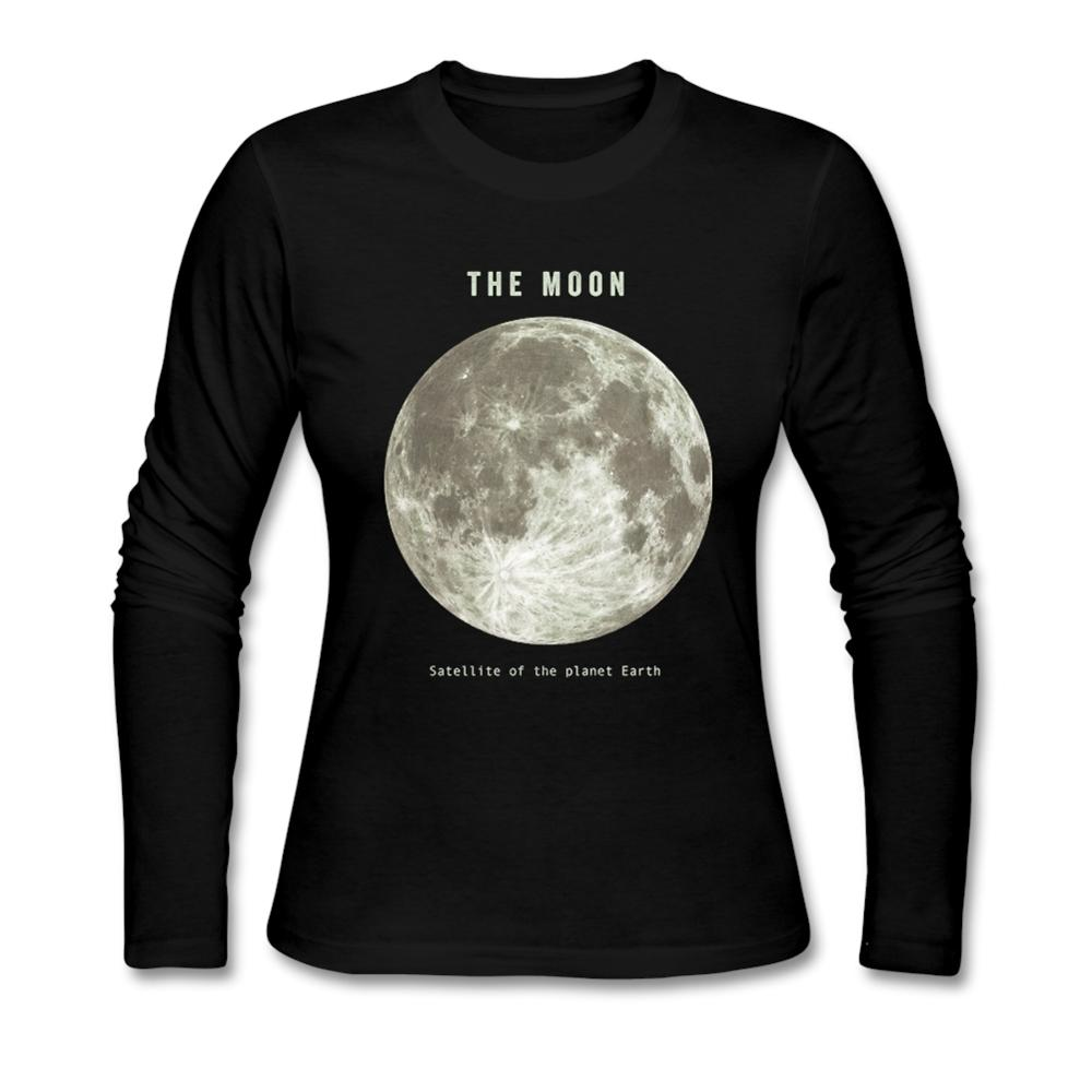 Design your own eco-friendly t-shirt - Stay Design Your Own Round Neck Organic Cotton Moon Long Sleeve Woman S Tee Shirt 2016 Fashion T Shirt Moon For Sale Shoes