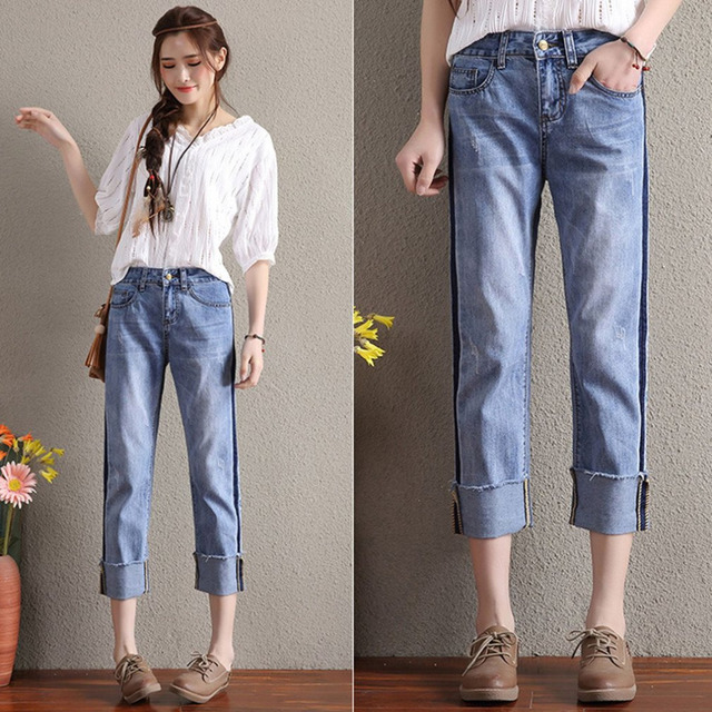 d61be8ca42d8 Casual Skinny Women Middle Waist Loose Style Denim Pants Vintage Design  Summer Spring Straight Cropped Jeans