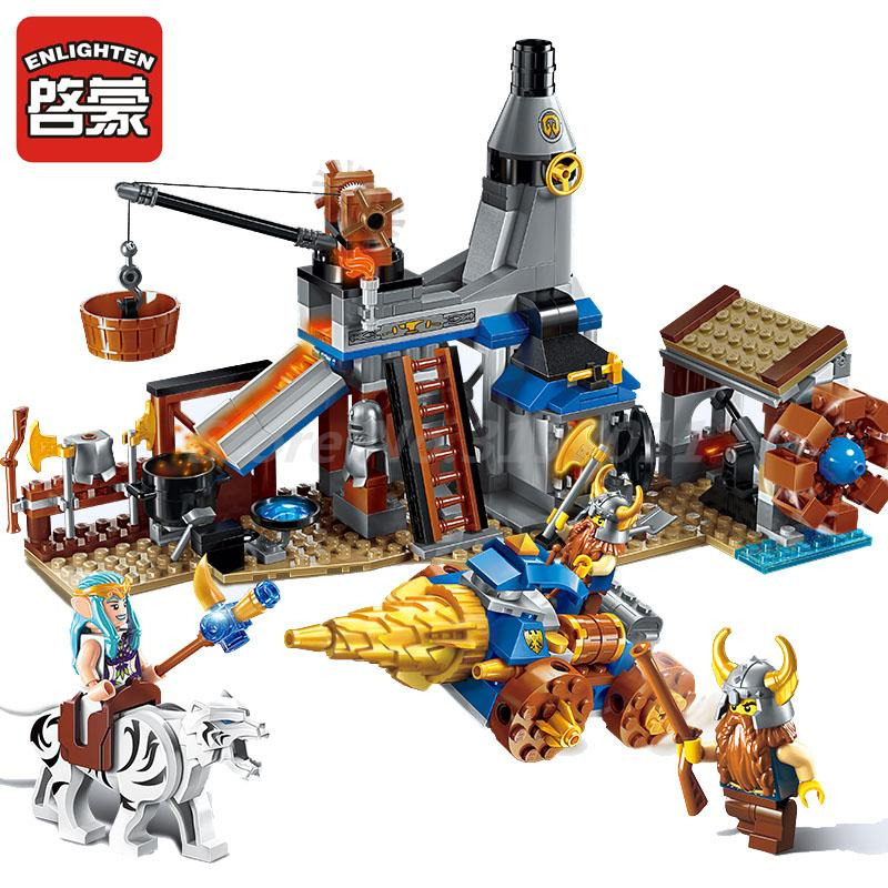 Enlighten 2314 War of Glory Building Block Castle Knights Blacksmith's Shop 3 Figures Classic Learning Toys For Children Gifts конструктор enlighten brick the war of glory 2315 casle silver hawk 656 дет 243959