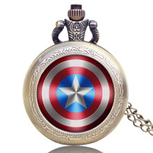 Watch-Marvel Necklace Pocket Captain-America-Shield Vintage Reloj Woman with Weapon Comics