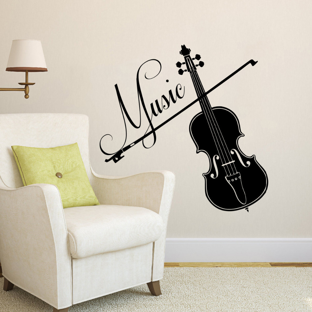 Violin vinyl wall decals interior home decor living room - Removable wall stickers living room ...