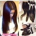 8A Brazilian Virgin Hair Silk Base Closure With Bundles Unprocessed Mink Straight Hair 3 Bundles With Silk Base Closure