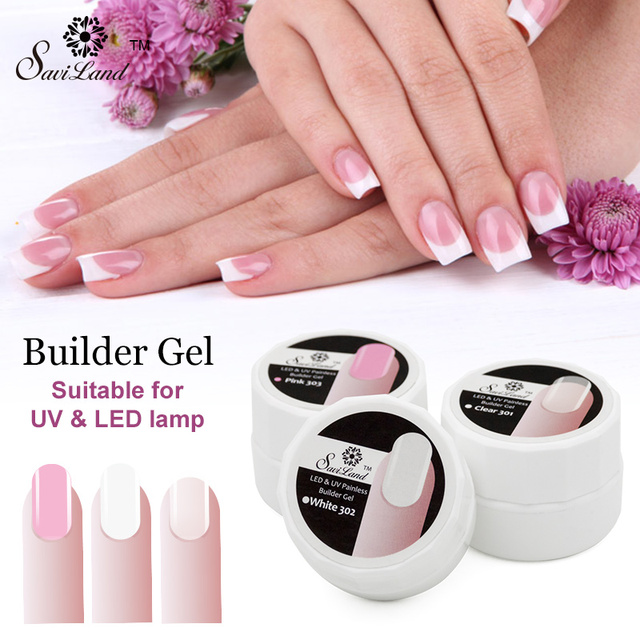 Saviland 1pcs UV LED Builder Gel Nail Polish Extension Pink White ...