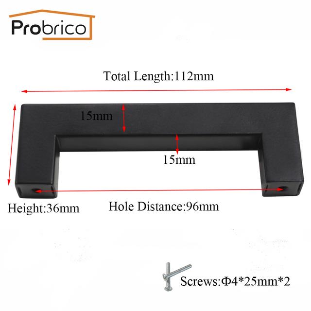 Probrico 10 PCS Black Cabinet Handle 15mm*15mm Square Bar Stainless Steel Kitchen Door Knob Furniture Drawer Pull PDDJS15HBK