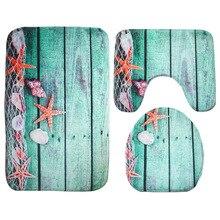 3 Piece Set / Flannel Printed Non-slip Toilet Bathroom Floor Veil  Bath Mat Washable Carpet Accessories