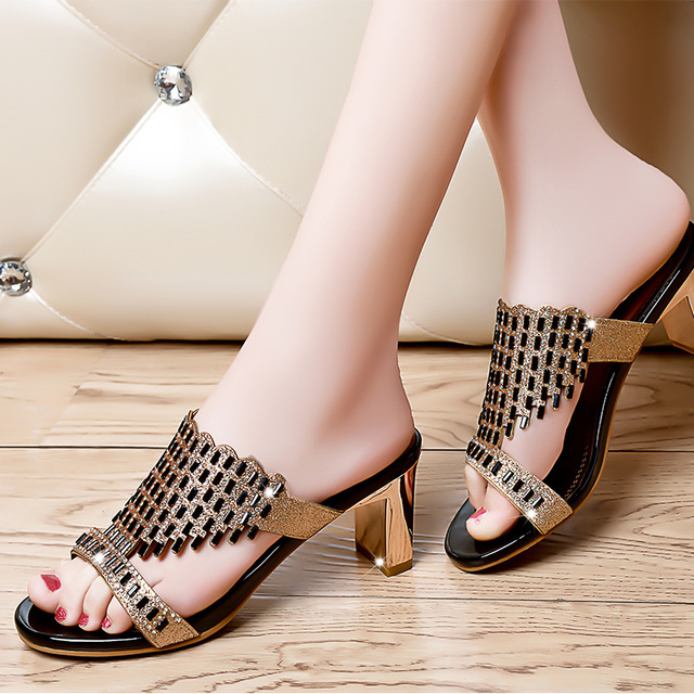 3ddf12d078b Sexy Crystal Ladies Slippers Summer Slip On Rhinestones 5 CM Medium Heels  Elegant Girls Sandals Shoes Black Gold Size 35-39