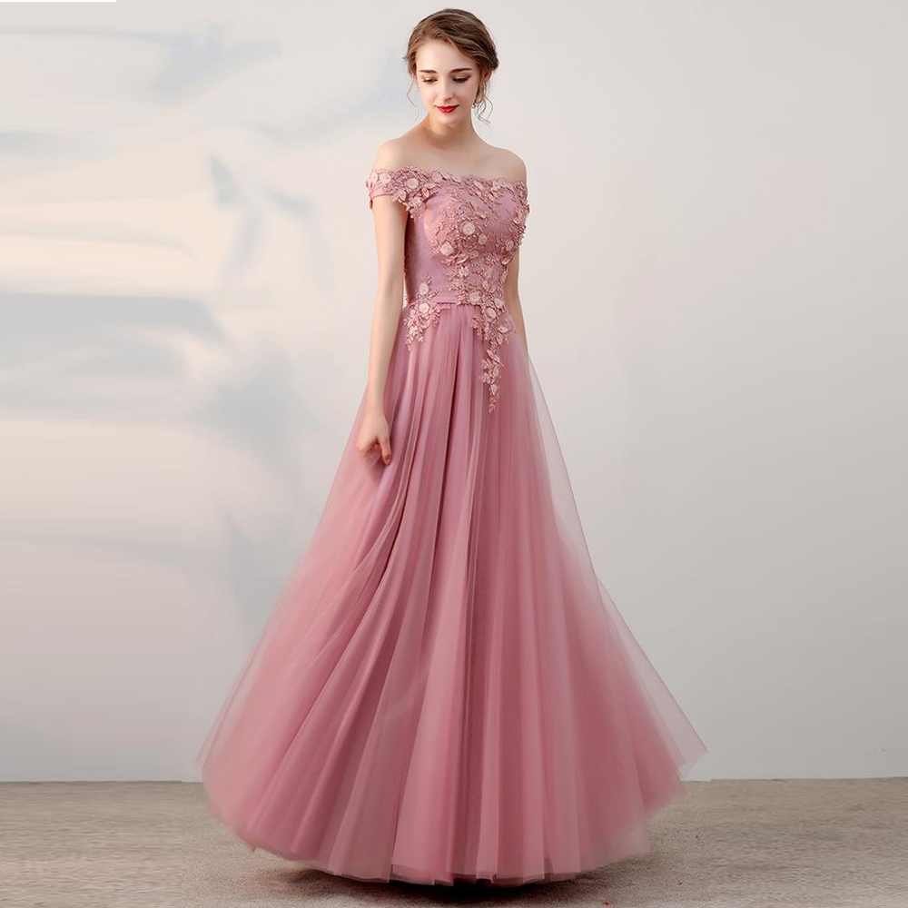 Off The Shoulder Long Cheap Pink Appliques Prom Dress 2019