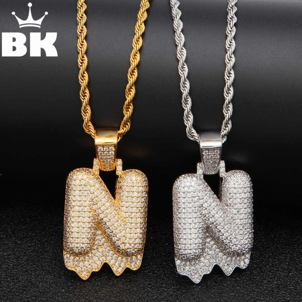 THE BLING KING White CZ Drip Custom Bubble Initial Letter Pendant Necklace Iced Out Cubic Zirconia ABCDEFGHIJKLMNOPQRSTUVWXYZ