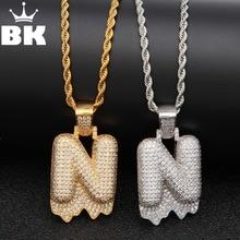 Letter Pendant ABCDEFGHIJKLMNOPQRSTUVWXYZ Bubble-Initial Necklace Custom Iced-Out Cubic-Zirconia