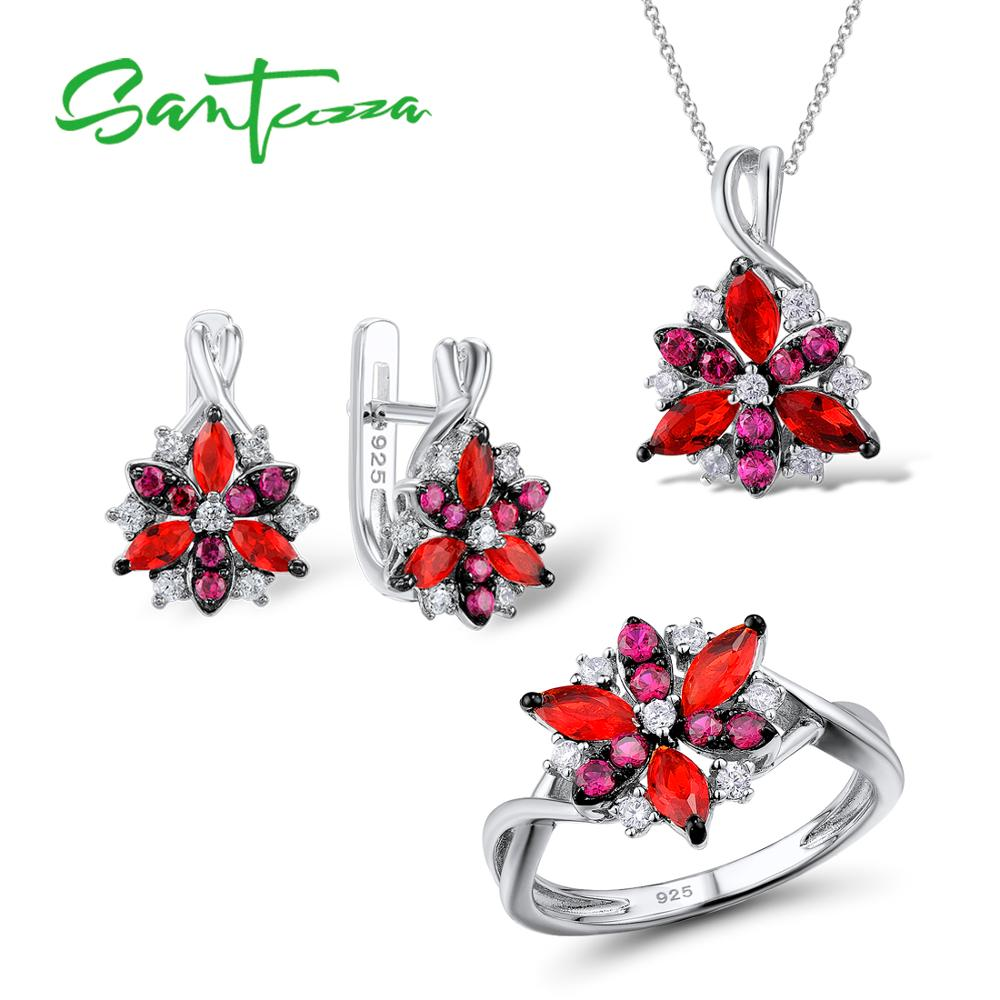 Silver Flower Jewelry Set Natural Red Cubic Zirconia Stones Ring Earrings Pendant Set 925 Sterling Silver Fashion Jewelry Set