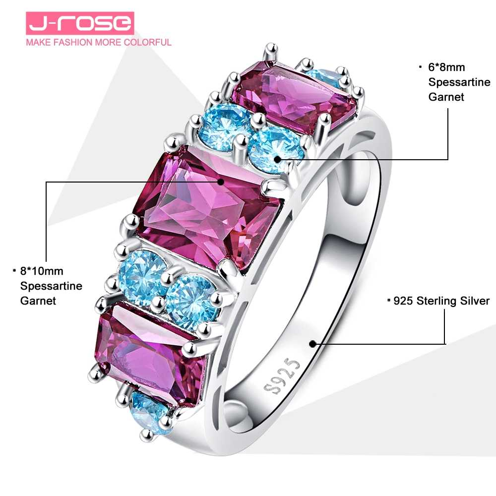 Jroseรัศมีช่องตั้ง16.25CT Spessartineโกเมน925แหวนบุคคลเงินสเตอร์ลิงสำหรับผู้หญิงSz 6-9ฟรีพร้อมกล่อง