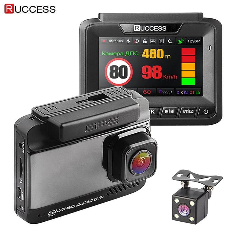 Ruccess Voiture DVR 3 dans 1 DVR Détecteur de Radar GPS Full HD 1080 p Double Caméras Auto Vidéo Enregistreur 1296 p Russe Nuit Vision WDR ADAS