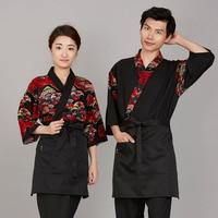 Free shipping cotton Print sushi cloth Japanese food service uniform fan pattern chef japan work cloth