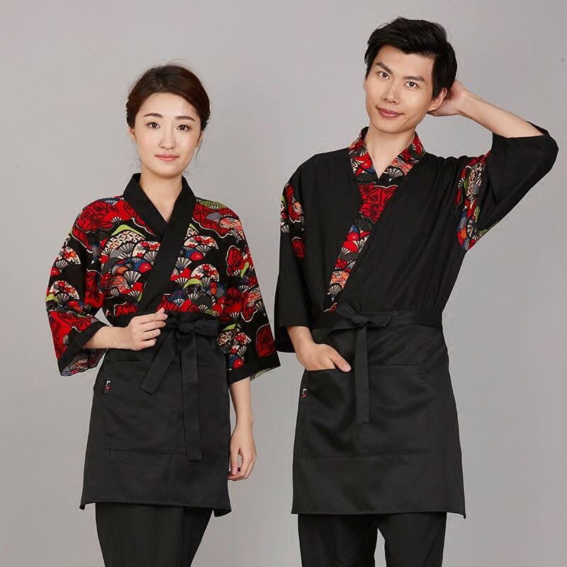 Livraison gratuite coton imprimé sushi tissu japonais service alimentaire uniforme ventilateur modèle chef japon travail tissu
