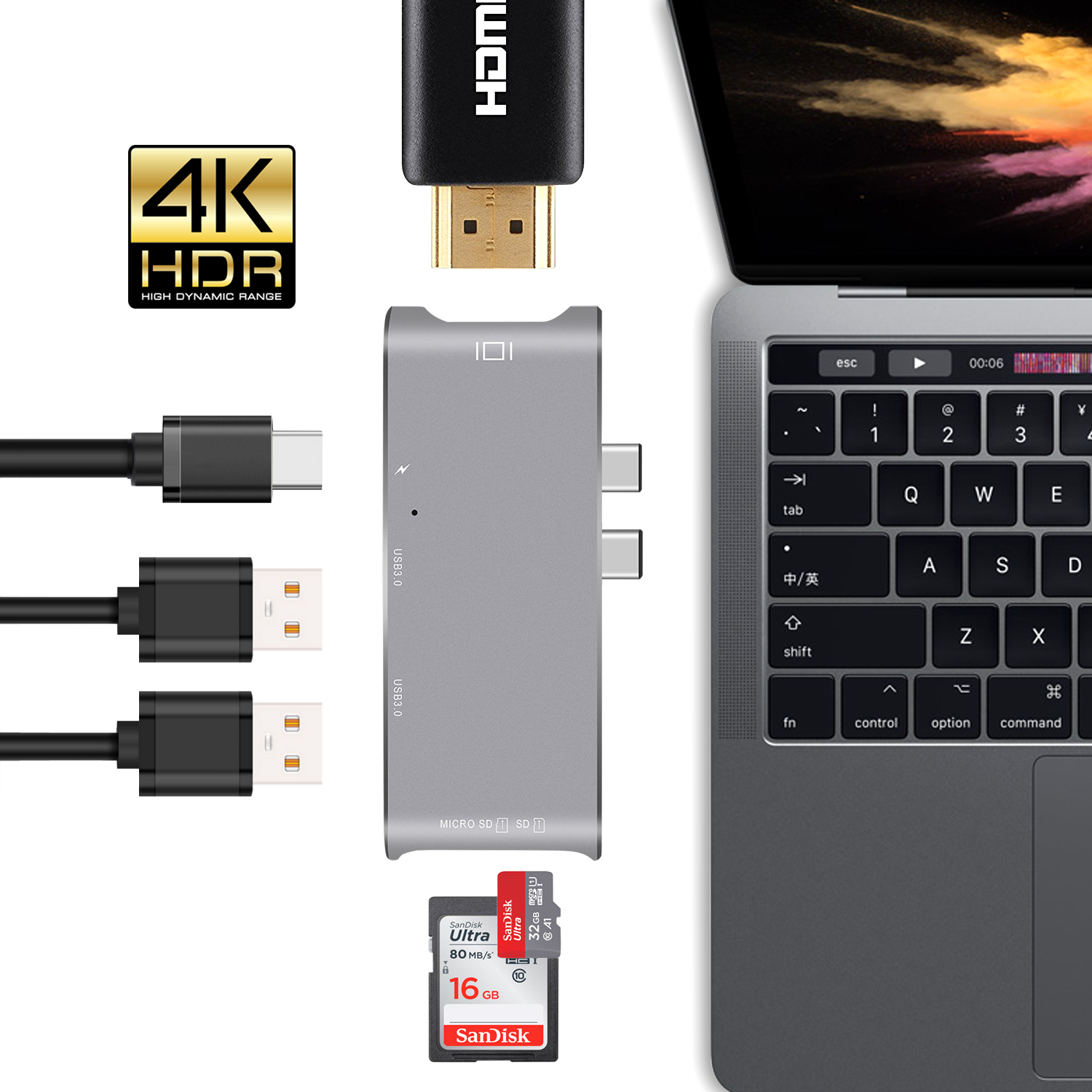 USB C Hub Adapter 6 in 1Type C Adapter,3-Port USB 3.0 HUB,Type C PD Charging Port,SD//Micro SD Card Reader For Macbook Pro 2016//2017,Google ChromeBook and more