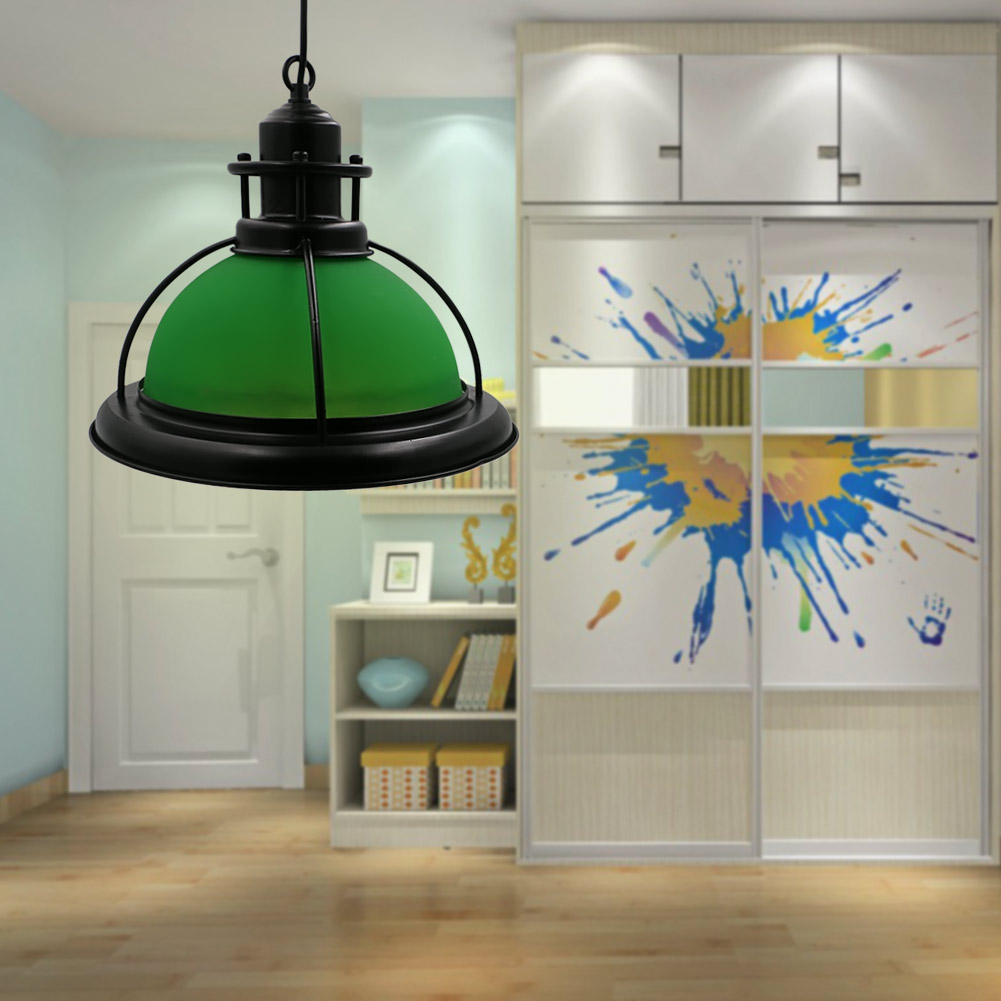 ФОТО Metal + Green Glass Industrial Retro Pendant Light E26/E27 American Vintage Pendant Lamps Hanging Home Lighting Abajur