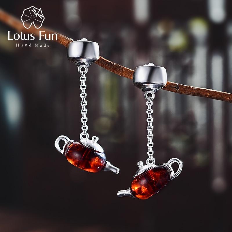 982b35a2b Lotus Fun Real 925 Sterling Silver Natural Amber Original Handmade Fine  Jewelry Cute Teapot Dangle Earrings