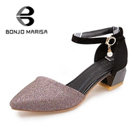 BONJOMARISA Women Pointed Toe Summer Shoes Woman Ankle Strap Chunky Heel Less Platform Sandals Ladies Footwear