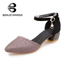 BONJOMARISA Mujeres Punta estrecha Zapatos Mujer Zapato con Cierre de Verano Menos Plataforma Sandalias de Tacón Grueso Señoras Calzado Tamaño Grande 31-47